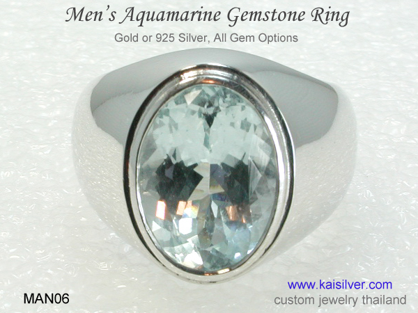 aquamaring men's ring