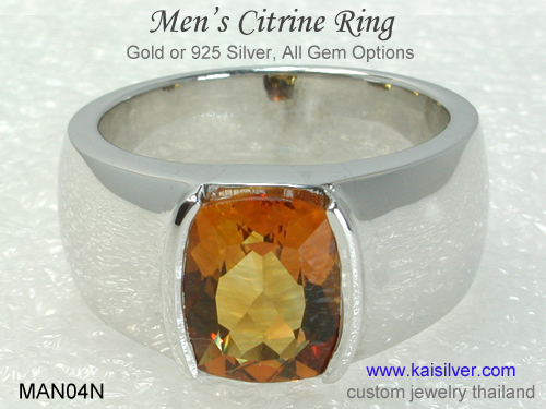 silver band gemstone ring men