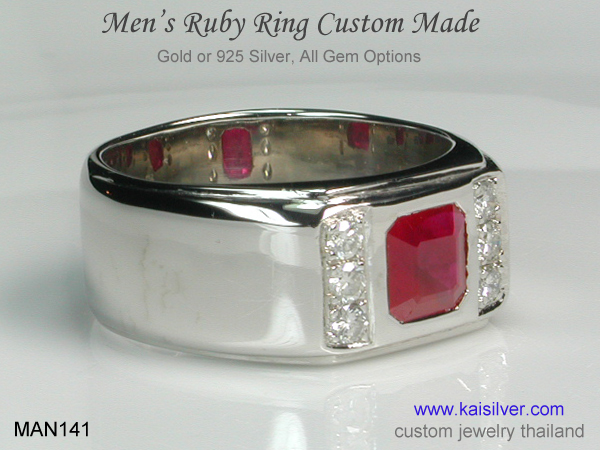 gold band men's ruby diamond