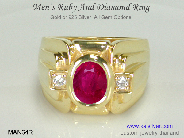 mens gemstone ring, ruby gold or silver