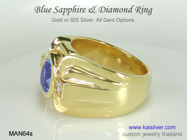 men's gemstone ring blue sapphire
