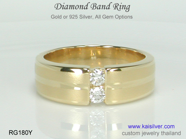 mens band gold diamond